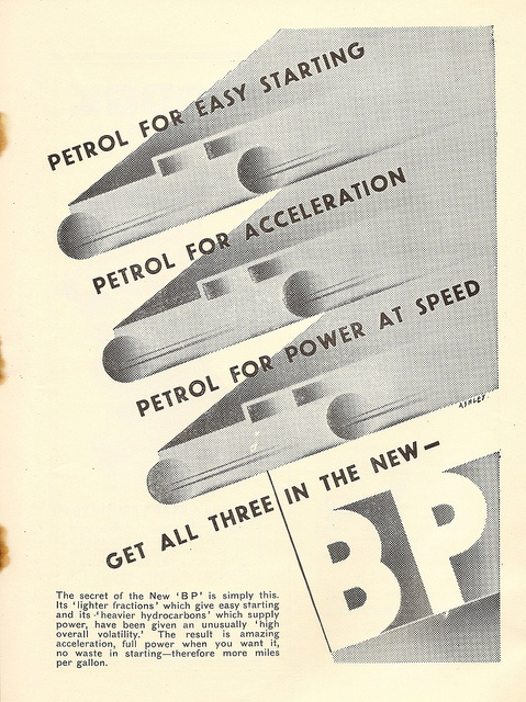 """Get all three in the new BP"" - BP petrol advert in SMT Magazine, 1930 - by Ashley Havinden"