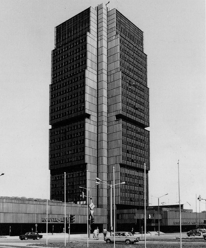 """""""Olympia"""" hotel, Tallinn, Estonia. Opened in 1980 it was a 28-storey tower with 405 rooms that seemed to be assembled from the cubes of different sizes."""