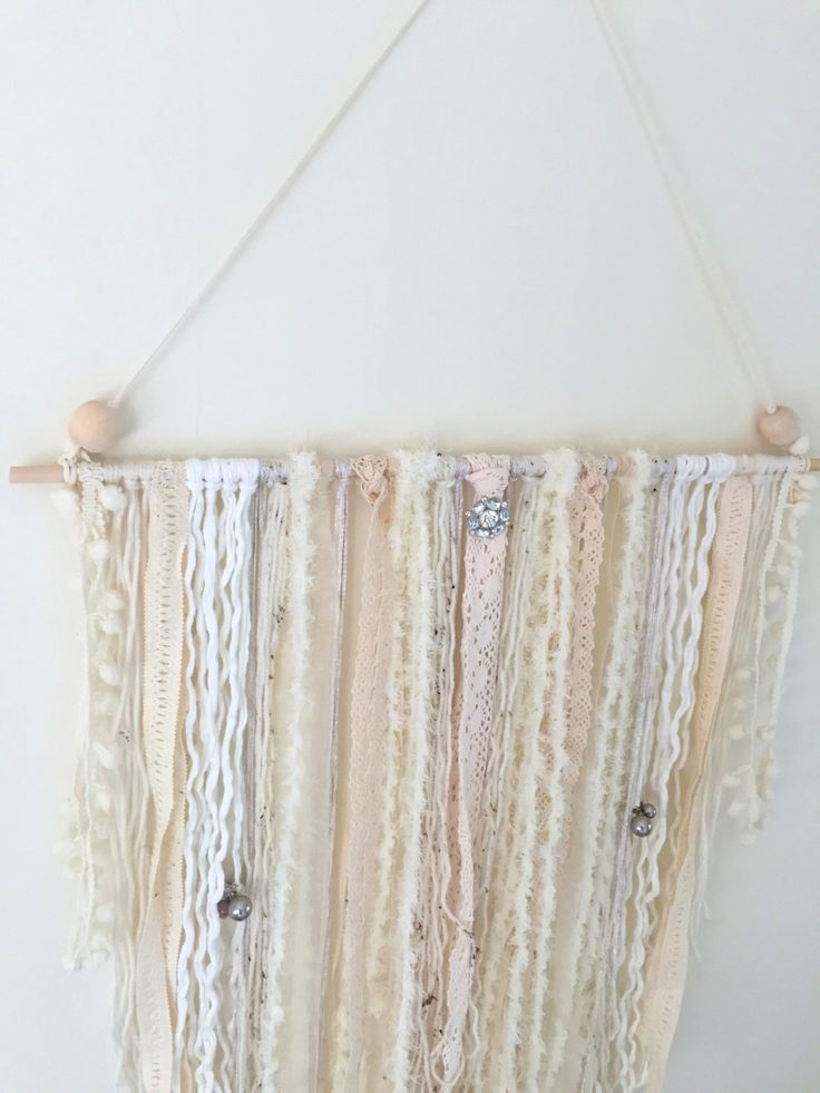 Vintage Ribbon and Mixed Yarn Wall Hanging by ShelleysHandcrafted on Etsy