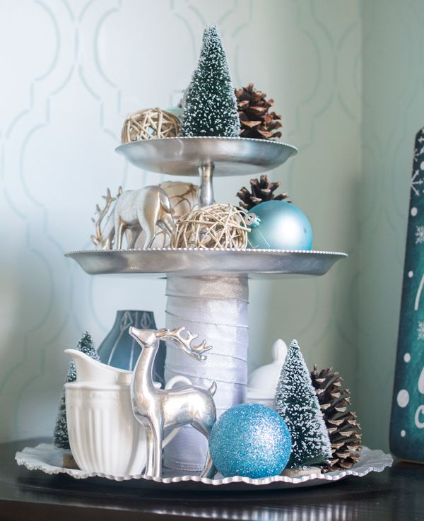 Christmas Foyer And Dining Room Home Tour Tray Decor Christmas Christmas Foyer Tiered Tray Decor