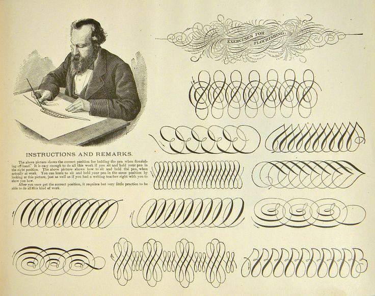 Victorian Typography Caligraphy Penmanship Folk Art Ornament Letter Hand Writing