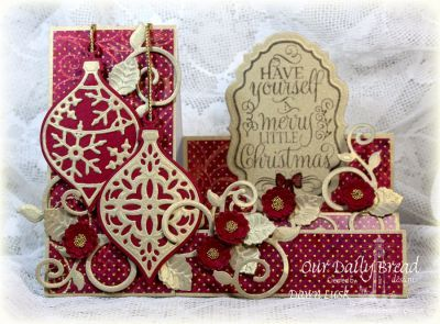 Our Daily Bread Designs Stamp set: Christmas Tunes, Our Daily Bread Designs Paper Collection: Christmas 2015, Fun and Fancy Folds - Side Step, Our Daily Bread Designs Custom Dies: Elegant Embellishments, Pretty Posies Dies, Vintage Labels, Fancy Foliage