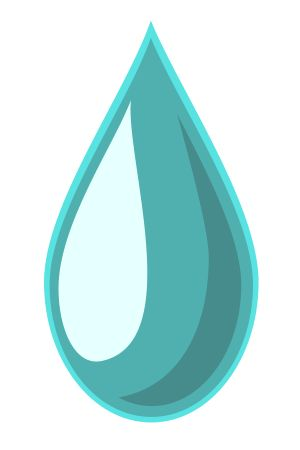 Cartoon illustration of a single drop of water.
