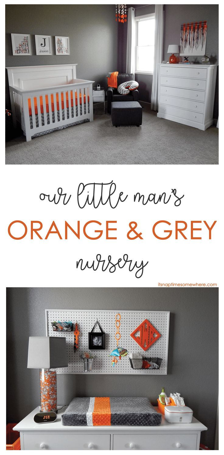 This orange and grey nursery is a simple, timeless look is perfect to grow with your child. If you like orange and grey, you will love our son's nursery.