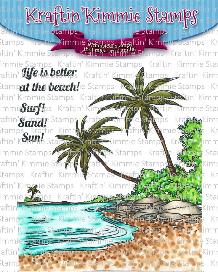 STAMP NAME:  At the Beach!    ARTIST:  Annie Rodrigue    SIZE:  4x4 Inch    MATERIAL:  Clear Photopolymer    DESCRIPTION:  One main image andtwo coordinating sentiments!    MORE INFO:  A perfect summer background that can be used on it's own as the focal point of your design OR in combination with another beachy image!