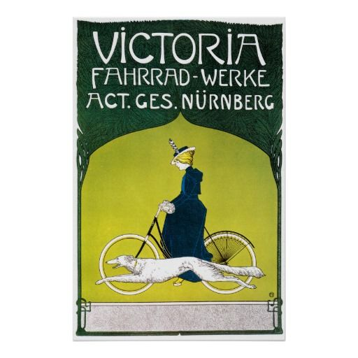 This image is from the vintage bicycle advertisement for Victoria Fahrrad-Werke [Bicycles] by Fritz Rehm, circa 1910. It shows a fast moving greyhound keeping pace with a well-dressed woman riding her bicycle.