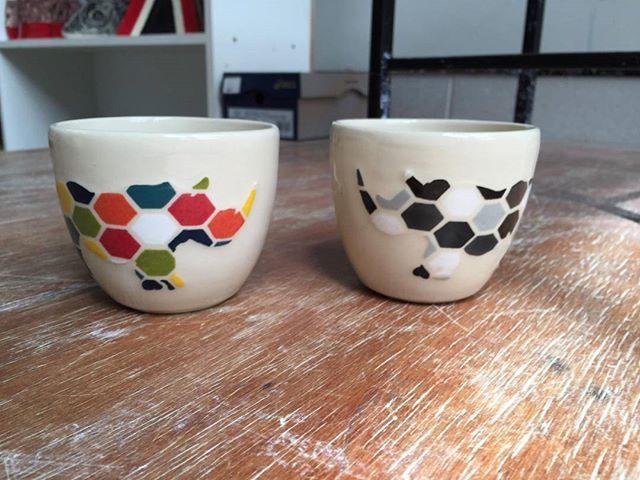 My rhino cups fresh out of the kiln, photo taken by @sonjabrough. rhinosaurs, thank you Sonja😊 - - - #australianmade #australianceramics #tasmanianceramics #tasdesigned #rhinos #stoneware #ceramics #mugs