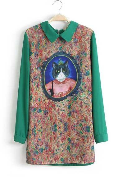 Green Long Sleeve Cat Queen Print Straight Dress