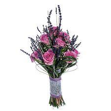 Свадебный Букет Невесты из Розовых Роз, Лаванды