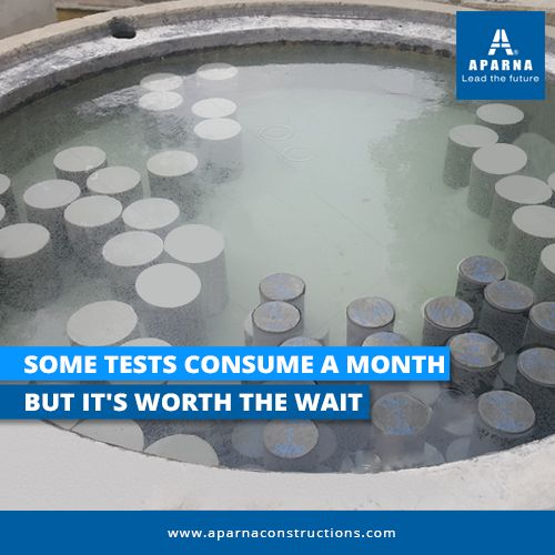 Concrete Curing Test takes about 30 days. The test determines strength and stability.