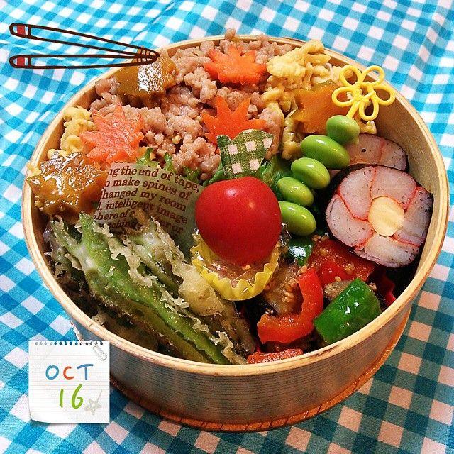 Twitter from @music_oz_93 おはよう♪娘のお弁当、そぼろ丼。#obentoart  #obento  #曲げわっぱ  #お弁当 #lunch  #bento