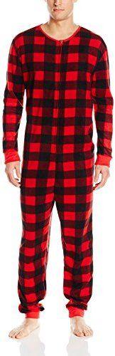 MJC International Men's Onesie Pajamas Buffalo Check Plaid
