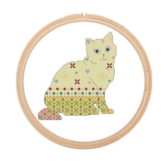 Cross Stitch Pattern Pop Cat yellow blue by LittleMamasStitch