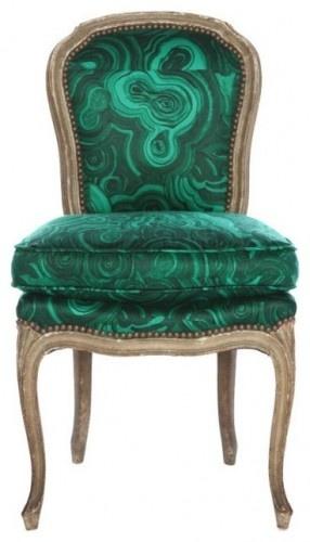 Louis XV style chair Malachite fabric by Jim Thompson