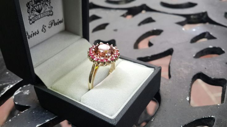 Handmade yellow Gold Tourmaline and Ruby Ring Cluster Setting