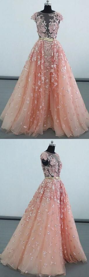 Sexy O Neck Prom Dress,Tulle Prom Dress,Beauty Party Dress,luxury long prom dresses,peach tulle prom party dress,unique ball geon prom dress with appliques
