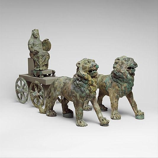 Bronze statuette of Cybele on a cart drawn by lions   Date: 2nd half of 2nd century A.D. Culture: Roman