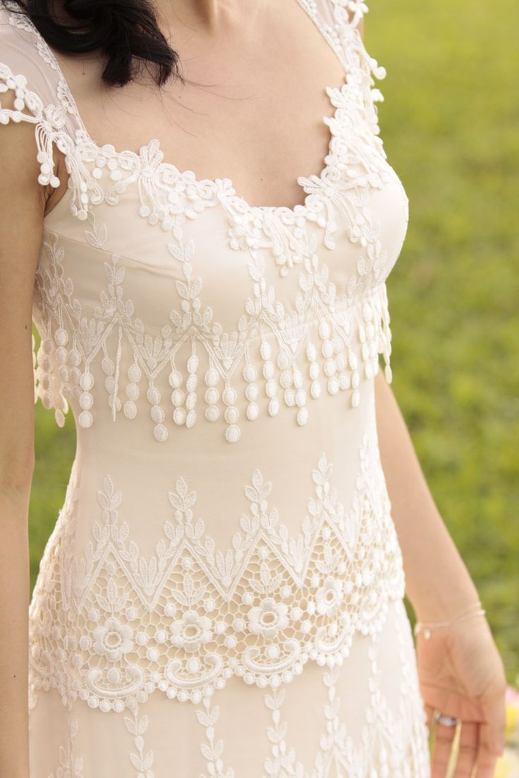Claire Pettibone Dress. This unusual hanging fringe is the perfect versatile vintage touch, whether your style is turn-of-the-century chic or down-home southern country.