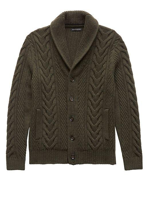 6b869e75192b75 Banana Republic Mens Merino Wool Blend Cable-Knit Shawl-Collar Cardigan  Sweater Fall Green