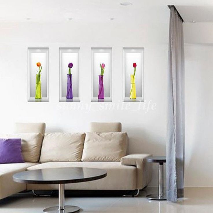 4Pcs 3D Removable Flower Vase Decals Wall Sticker Vinyl Home Living Room  Decor Part 37