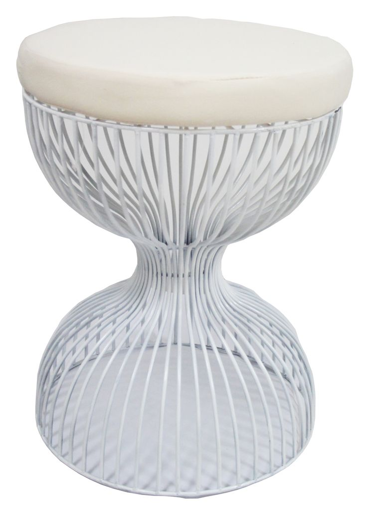 NEW IN: Wire hourglass stool in WHITE - waterproof, including cushions! From $130RRP AUD.   http://www.philbee.com.au/white-hour-glass-iron-chair-with-cushion.html