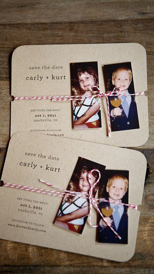 Save the Date idea. So cute! Never even thought about pictures from when we were kids!