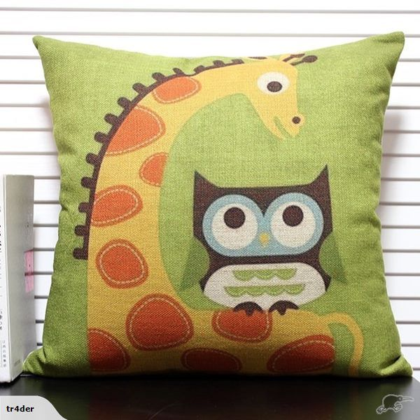 Giraffe & Owl cushion cover - Cool - 45cm x 45cm | Trade Me