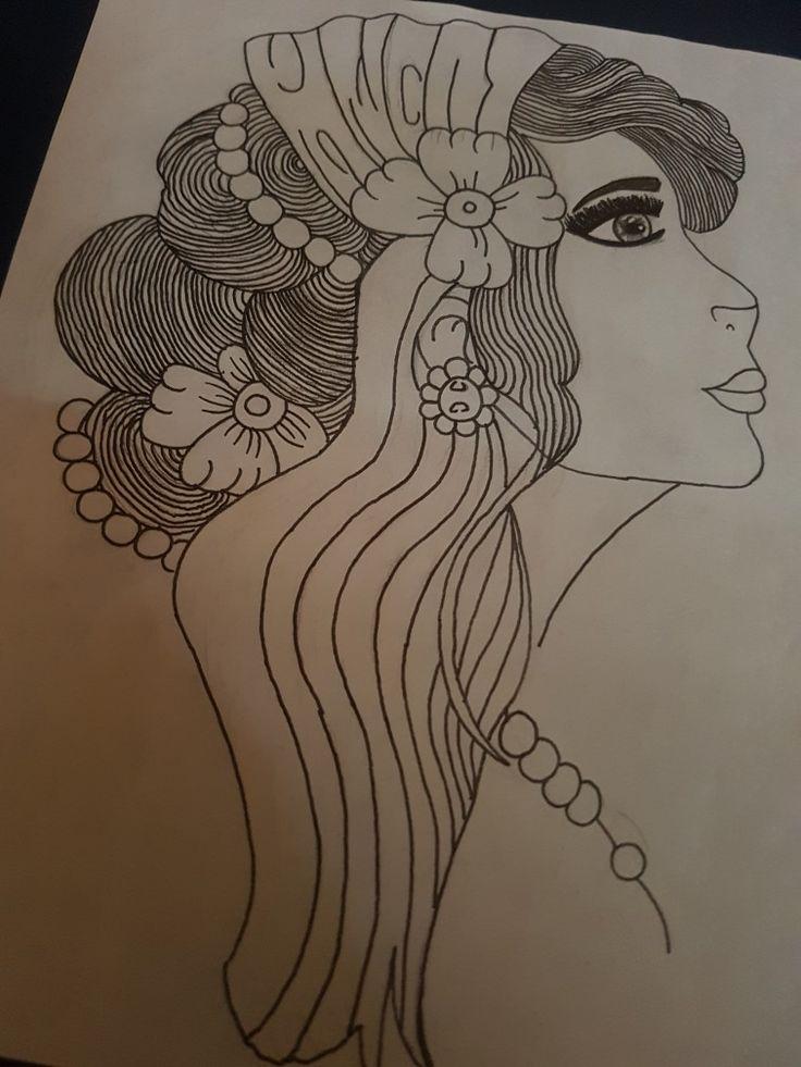 Gypsy girl tattoo design drawing free hand imaganation pretty girl