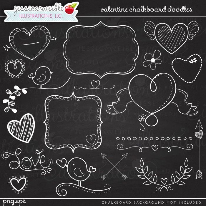 Valentine Chalkboard Doodles - JW Illustrations - #valentine Chalkboard Art - Chalk hearts, chalk frames, chalk arrows, chalk laurels