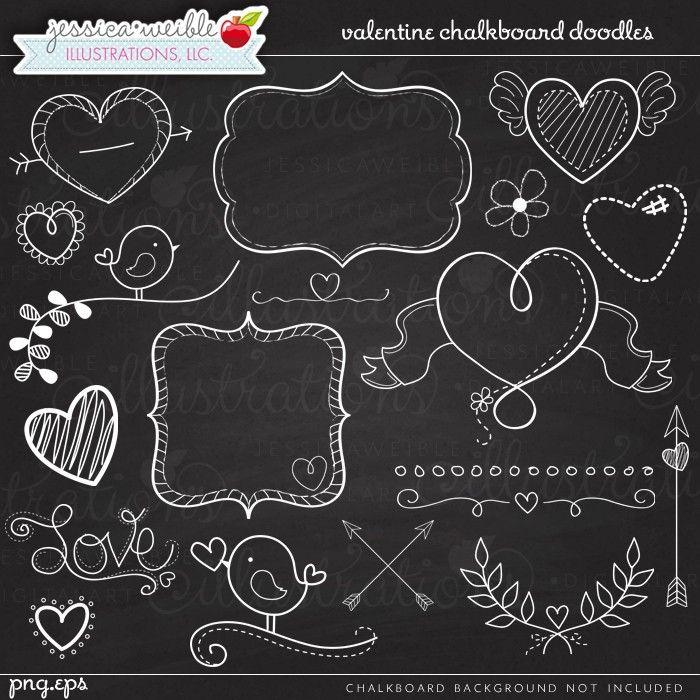 Valentine Chalkboard Doodles - JW Illustrations - #valentine Chalkboard Art - Chalk hearts, chalk frames, chalk arrows, chalk laurels