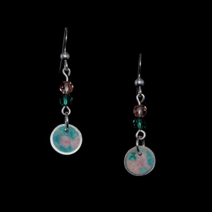 Aros de plata, crisocola, rodocrosita y cristales | Joyas hechas a mano/ Hand made jewelry | www.facebook.com/DeDiosas