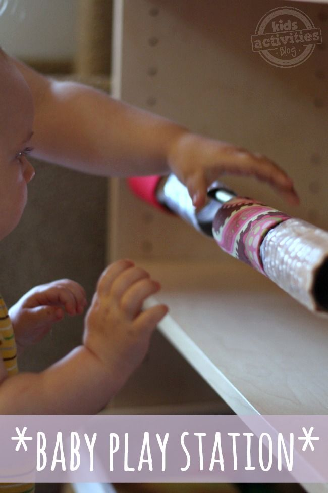 Babies love this baby play station you can make with recycled toilet paper rolls. It's easy to make and loads of fun!