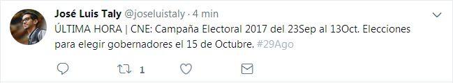 #29Ago Informa el periodista @joseluistaly sobre la próxima contienda electoral #Venezuela - http://www.notiexpresscolor.com/2017/08/29/29ago-informa-el-periodista-joseluistaly-sobre-la-proxima-contienda-electoral-venezuela/