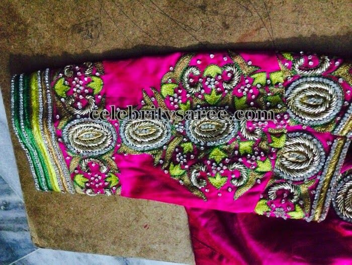 Thread Work Pink 3/4th Sleeves Blouse - Saree Blouse Patterns