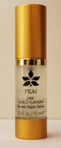 "PRAI 24K GOLD CAVIAR Wrinkle Repair Serum .5 oz by PRAI. $18.00. 24K Gold burnishes skin to a warm glow. Win 10 years back for your skin! Powerful wrinkle fighting Linefactor and precious 24K Gold supercharge skin's luminosity and leave it looking ""lit from within.""  Features:   ~LineFactor: derived from hibiscus seed, helps turn around the appearance in texture, firmness, elasticity and density of skins over 40, and reactivate the skin's youth processes by pro..."