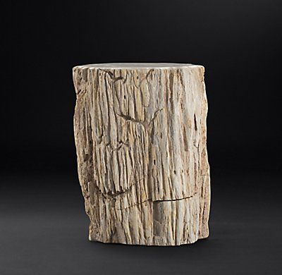 RH Modern's Petrified Wood Stump Mixed Side Table:Sourced from Indonesia, our petrified wood stumps lend rustic beauty to the home.  We've polished the tops but left the sides in their natural state, still bearing the cracks, holes, nicks and knots that celebrate each table's one-of-a-kind character.