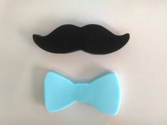 Moustache and bow tie mini soap Soap party favor Baby by 111elies