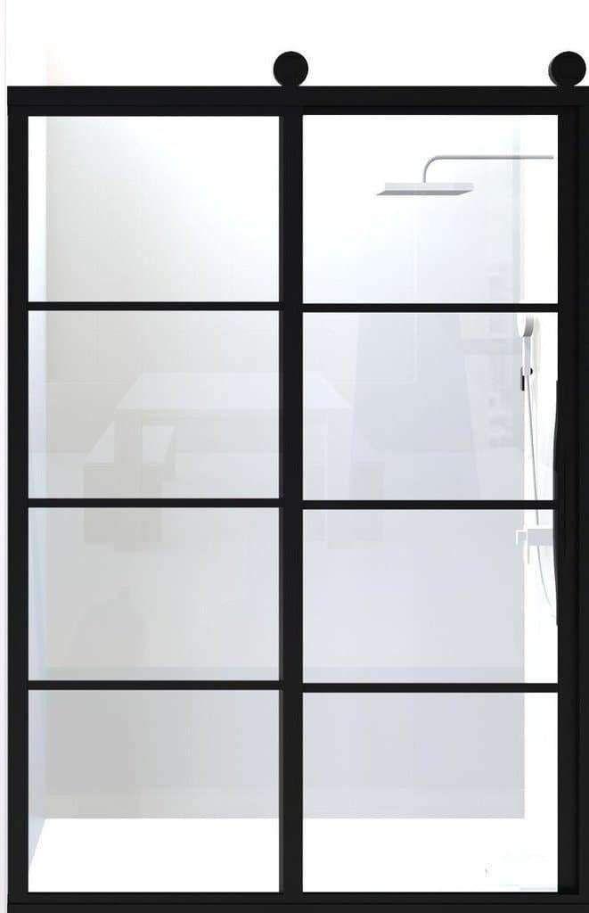 Gridscape Gs2 Eclipse Sliding Shower Door In Black With Clear Glass In 2020 Sliding Shower Door Shower Doors Door Glass Design