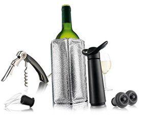 Vacu Vin 6889060 Essentiels Coffret avec Pompe/2 Bouchons/Refroidisseur/Anti-Goutte/Tire-Bouchon Sommelier
