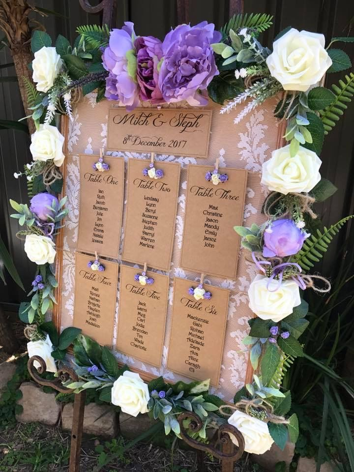 Rustic table seating plans