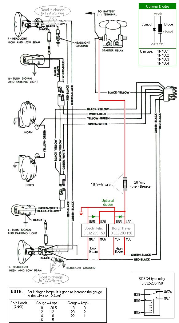 Headlight    relay wiring    diagram      Things that spark my interest   Baja bug     Diagram     Volkswagen