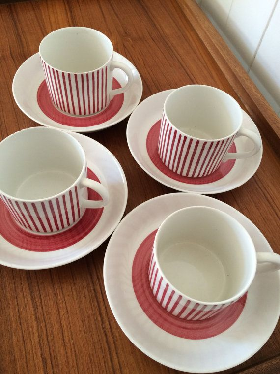 4 Mid Century Kadett Cups and Saucers by Rorstrand Sweden These gorgeous porcelain cups and saucers were designed by Hertha…