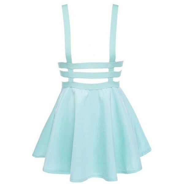Bluetime Womens Pleated Short Braces Skirt(FBA) (38 BRL) ❤ liked on Polyvore featuring skirts, mini skirts, dresses, bottoms, blue, pleated skirt, blue skirt, short pleated skirt, short skirts and short blue skirt