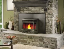 Pellet stove fireplace insert.                                                                                                                                                                                 More