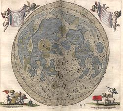 Hevelius' map of the Moon. Jan Heweliusz was  an astronomer from Gdansk.