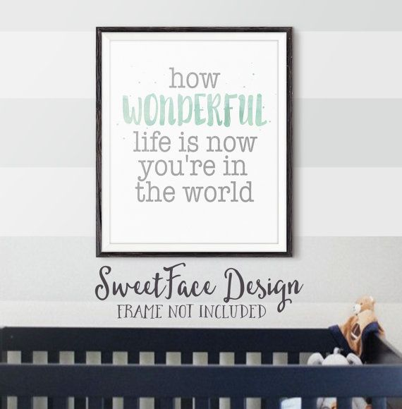 How Wonderful Life Is Now You're In The World by SweetFaceDesign