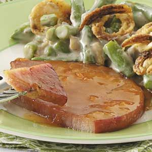 Apricot-Glazed Ham Steak & hash browns....a favorite!!! (with green beans and fried onions here)  yum