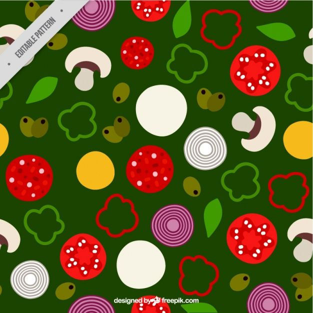 Pattern with ingredients of pizza on a green background   Free Vector