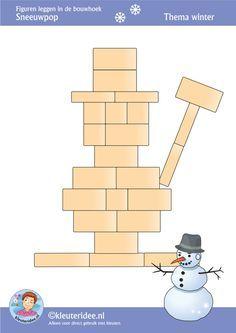 Sneeuwpop, figuren leggen in de bouwhoek,  thema winter , juf Petra van kleuteridee, Preschool patterns for block area, free printable.