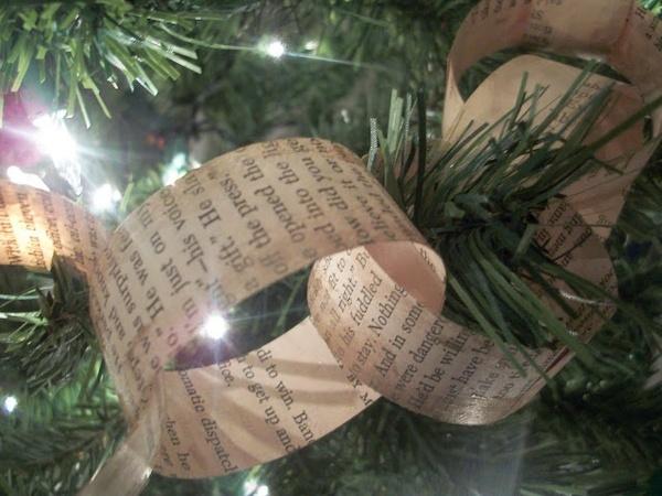 Old book tree garland holidays